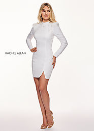 High Neckline Fitted Mini Cocktail Dresses in White Color | Style - L1210