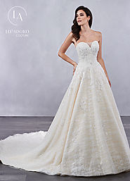 Strapless A-Line Couture Bridal Dresses in White Color | Style - M715