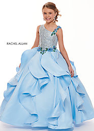Asymmetric Ball Gowns Little Girl Pageant Dresses in Turquoise Color | Style - 1722