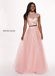 High Neckline A-Line Prom Dresses in Pink Color | Style - 6403