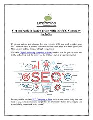 Get top rank in search result with the seo company in india
