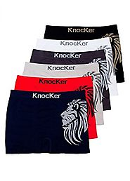 6 pk Men`s Seamless Athletic Compression Boxer Briefs Underwear One Size