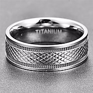 Titanium brushed mens rings