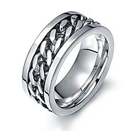 Titanium spinner mens rings