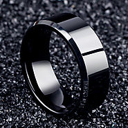 Titanium black mens rings