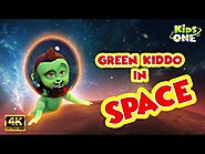 kids Rhymes: Green Kiddo in SPACE FUNNY Video For Children KidsOne