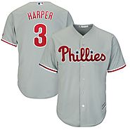 Bryce Harper Philadelphia Phillies Majestic Official Cool Base Replica Player Jersey - Gray - Phillies Gear