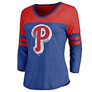 Philadelphia Phillies Women's Cooperstown Two Tone Three-Quarter Sleeve Tri-Blend T-Shirt - Royal/Red - Phillies Gear
