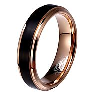 Black Tungsten Mens Rings – 8mm & 6mm Rose Gold men's rings.