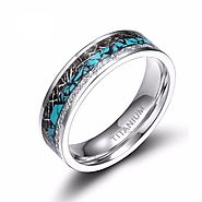 Blue Thread Inlay Titanium mens Promise rings