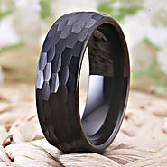 Black Domed Tungsten Carbide Mens Ring