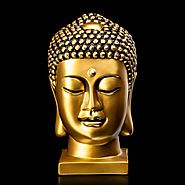 Glossy Rust Resin Buddha Head Sculpture