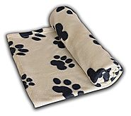 Pet Blanket Large For Dog Cat Animal 60 x 39 Inches Fleece Black Paw Print All Year Round Puppy Kitten Bed Warm Sleep...