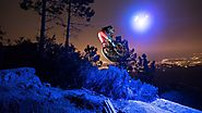 Loic Bruni's Midnight MTB Ride on a Trail lit by a Drone! Drone lumineux
