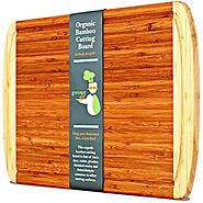 KING SIZE Organic Bamboo Cutting Board w/ LIFETIME REPLACEMENT WARRANTY - Best Extra Large Wood Chopping Board with G...