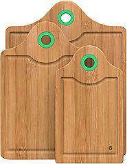 Vremi 3 Piece Bamboo Cutting Board Set - Wood Cutting Boards for Kitchen with Silicone Storage Handle - Small and Lar...