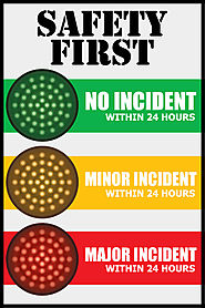 Stoplight Safety Sign with Large Red Yellow Green traffic lights
