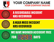 Stoplight Days Without an Accident Sign with Numeric Display (22Hx28W)