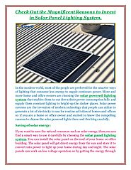 Magnificent Reasons To Invest In Solar Panel Lighting System - RediLight
