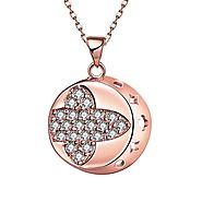 Rose Gold Color Genuine Crystal Round Pendant Necklace – sparklingselections