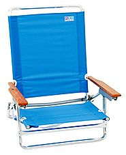 Rio Brands 5 Position Classic Lay Flat Beach Chair, Perri Blue