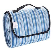 "Portable Outdoor Beach/ Camping/ Picnic Blanket Mat (60""x80"") - Foldable, Waterproof, Sand-proof, White and Blue Stri..."
