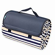 Yodo Outdoor Water-Resistant Picnic Blanket Tote,Spring Summer Navy Stripe