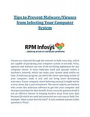 Tips to Prevent Malware or Viruses from Infecting Your Computer System