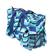 7-Pocket Tote Bag With Zipper (Blue and Green Zig Zag)