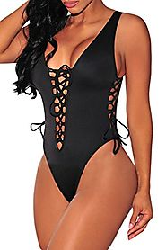 HOTAPEI Women V Neck Lace up High Cut One Piece Bathing Suit Large Black