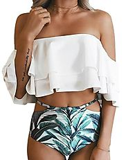Tempt Me Ruffle Falbala Off the Shoulder High Waisted Bikini Set