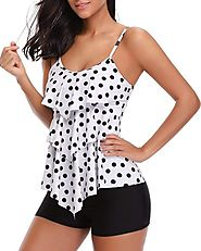 Tempt Me Two Piece Flounce Polka Dot Printed Tankini Boyshort Bottom