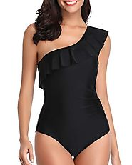 Tempt Me Asymmetrical Falbala One Shoulder Ruffle One Piece Swimsuit