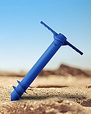 Ammsun Plastic Beach Umbrella Sand Anchor Auger Screw Universal Size Safe Stand for Strong Winds Blue