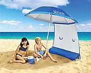 Superior Sun Protection, Ultra Lightweight ezShade 7' Beach Umbrella & Sunshield Combo, Blocks 99% UVA/UVB, Doubles Y...