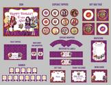 Ever After High PRINTABLE Birthday Party Pack - Invitations, Cupcake Toppers & Wrappers, Banner, Candy Wrappers, Wate...