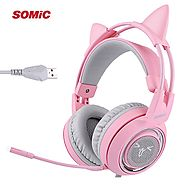SOMIC G951 Pink Noise Cancelling Lovely Cat Headset | Shop For Gamers