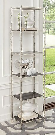Global Views Arbor Etagere-Nickel And Black Granite | Short Etagere Bookcase At Grayson Luxury