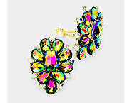 Dazzlers Clip On Earrings - Colorful Crystal Clip On Earrings in a Flower Design