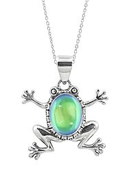 Sterling Silver Frog Pendant with crystal stone by LeightWorks