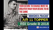 RBI Grade B 2018 Topper Interview | All India Rank 11 | ABHISHEK PRASAD | Inspirational Story