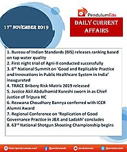 Daily Current Affairs | SSC | Banking | Defence | State PSC | UPSC | 17 Nov 2019