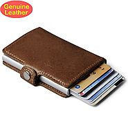Casual Genuine Leather Back Pocket ID Card Holder RFID Mini Wallet – ShoppySanta