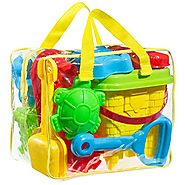 GoToys Beach sand toy set, Models and Molds, Bucket, Shovels, Rakes, Mesh bag with pull strings for easy clean, & Reu...