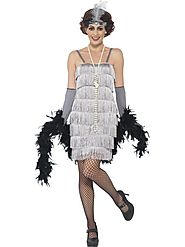 Women's Flapper Fancy Dress Costume Silver, Short Dress | Fancy Panda