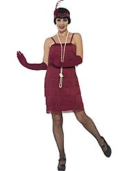 Women's Flapper Fancy Dress Costume,Short Burgundy Red | Fancy Panda