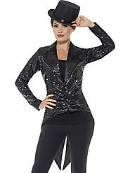 Sequin Tailcoat Jacket Black, Ladies
