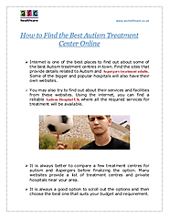 How to Find the Best Autism Treatment Center Online | edocr