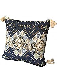 Throw Pillow Cover Tribal Boho Woven Pillowcase with Tassels Soft Square Pillow Sham Blue Multicolor