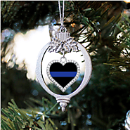 Thin Blue Line Police Support Open Heart Charm Christmas Ornament